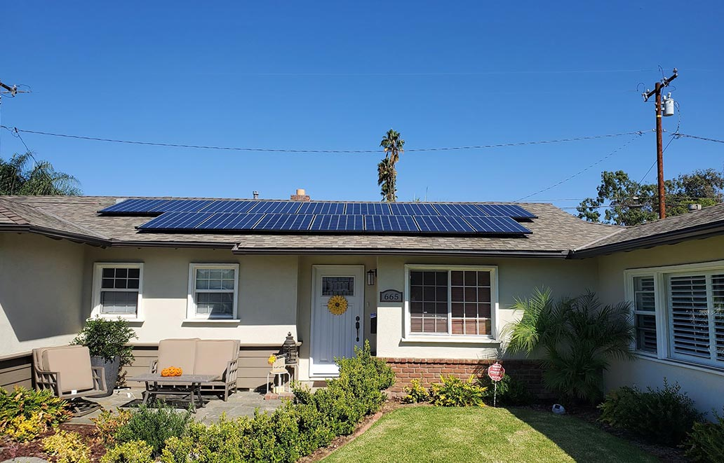 Image of a House with Solar Panel Installed on the Roof